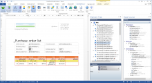 <p>Using generated report data source we can now design a template for the Purchase Order List report. Designing templates takes place in Docentric AX Template Designer, which is actually MS Word with a special Add-In.</p>
