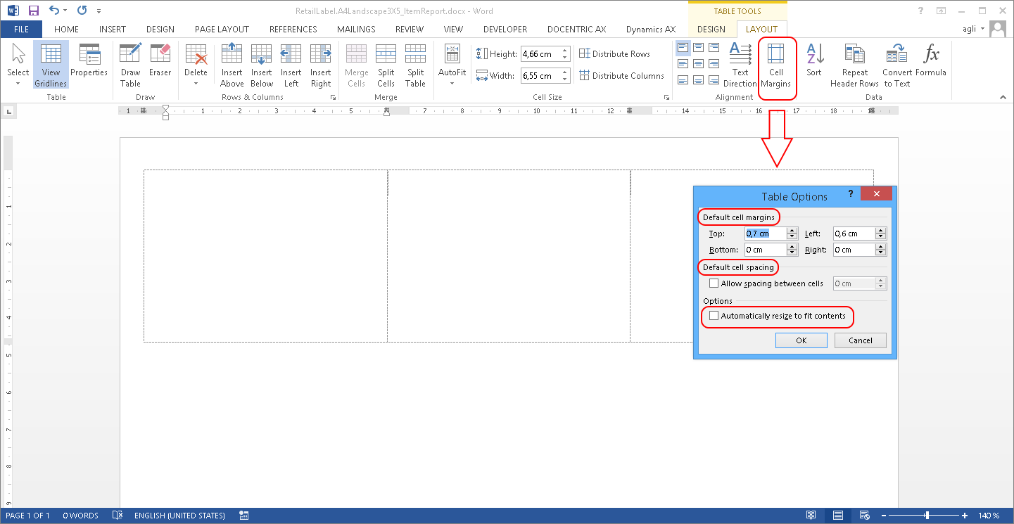 Label design in ms word with docentric ax designer for Table th margin
