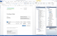 <p>Using generated document data source we can now design a template for the Purchase Order document. Designing templates takes place in Docentric AX Template designer, which is actually MS Word with a special Add-In.</p>