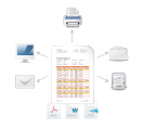 <p>Docentric Basic and SSRS reports can be printed in Word, PDF or XPS format and sent to screen, a selected printer, print archive, file location or email addresses.</p>