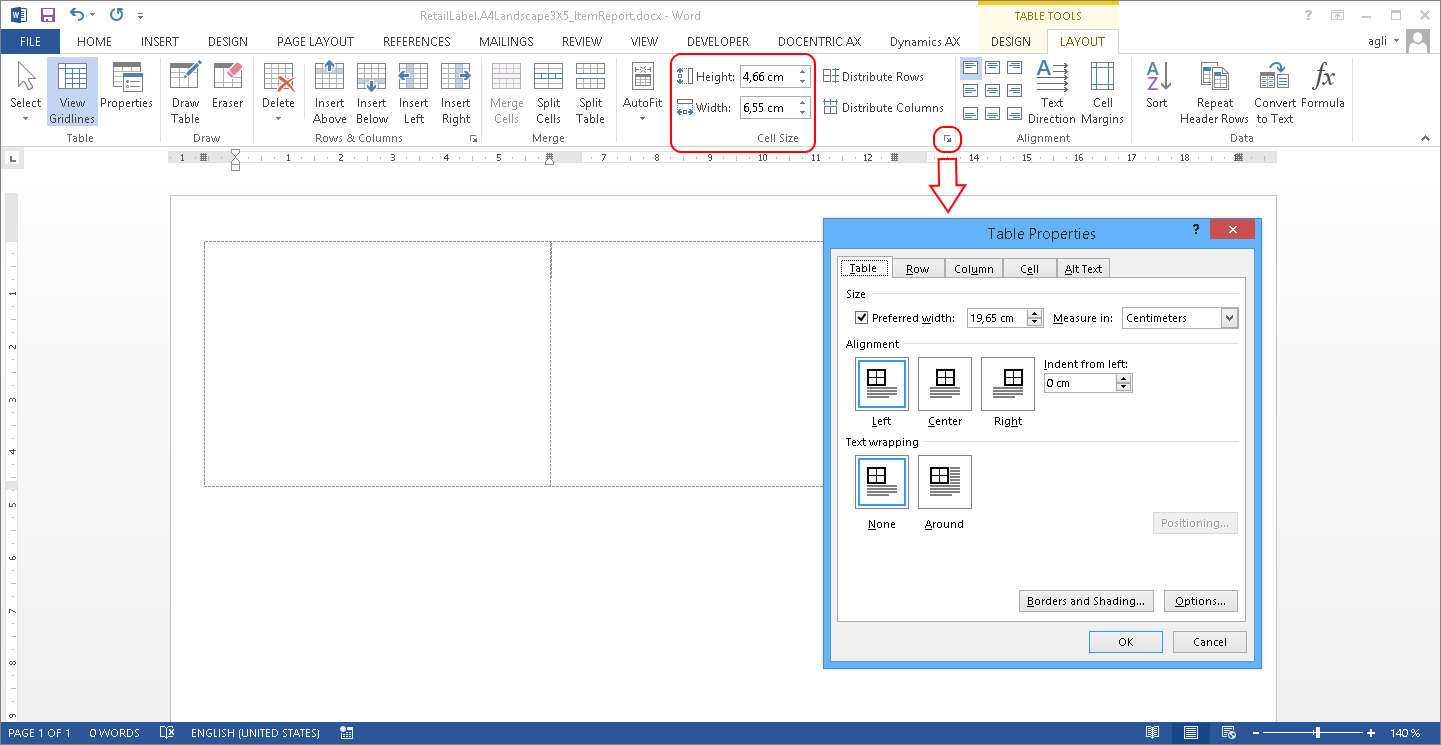 Label design in MS Word with Docentric AX designer
