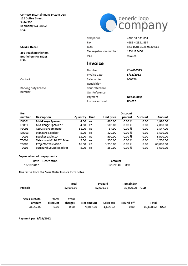 Design Considerations  Sales Invoice Example