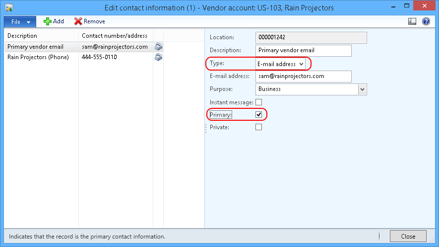 Email purchase order to specific vendor contacts - MS Dynamics AX