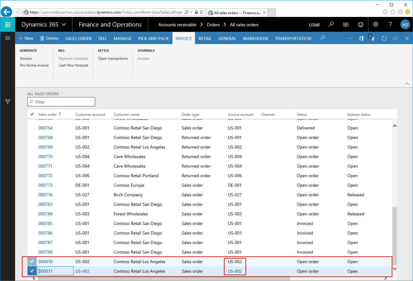 invoice posting and printing of multiple sales orders in dynamics