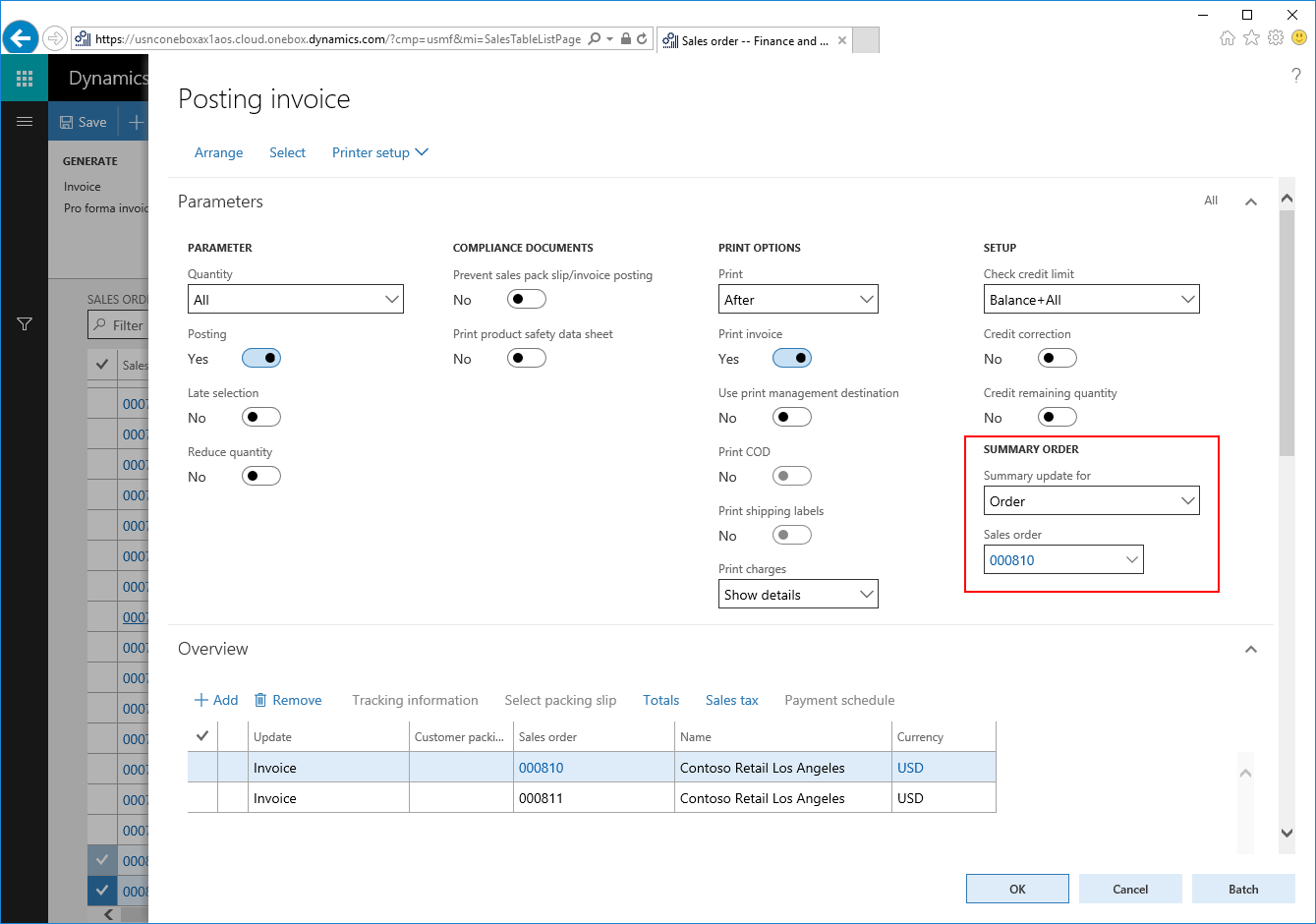 Invoice Posting And Printing Of Multiple Sales Orders In Dynamics - Invoice 365