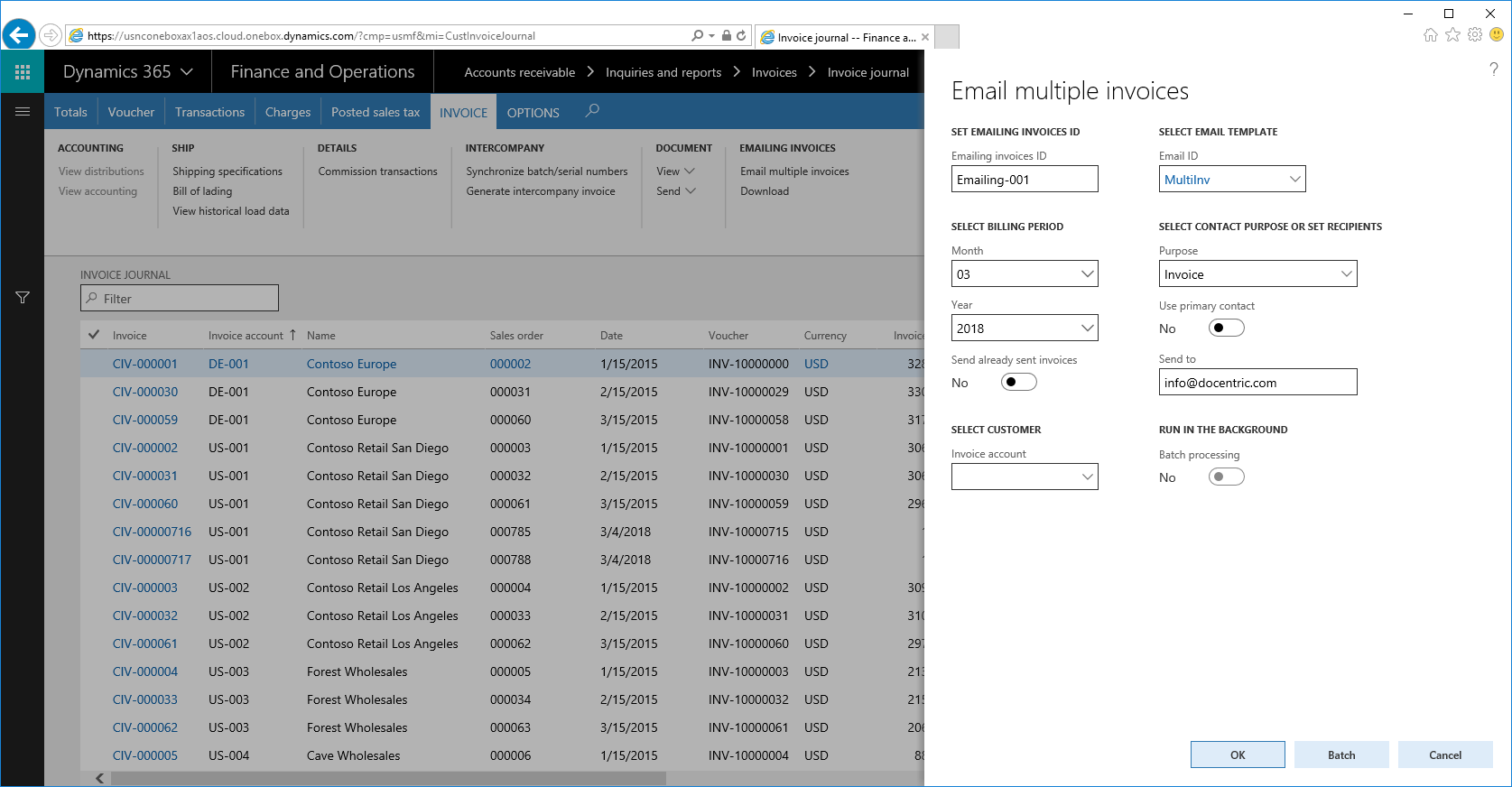 Sending multiple customer invoices in a single email in Dynamics 365 ...
