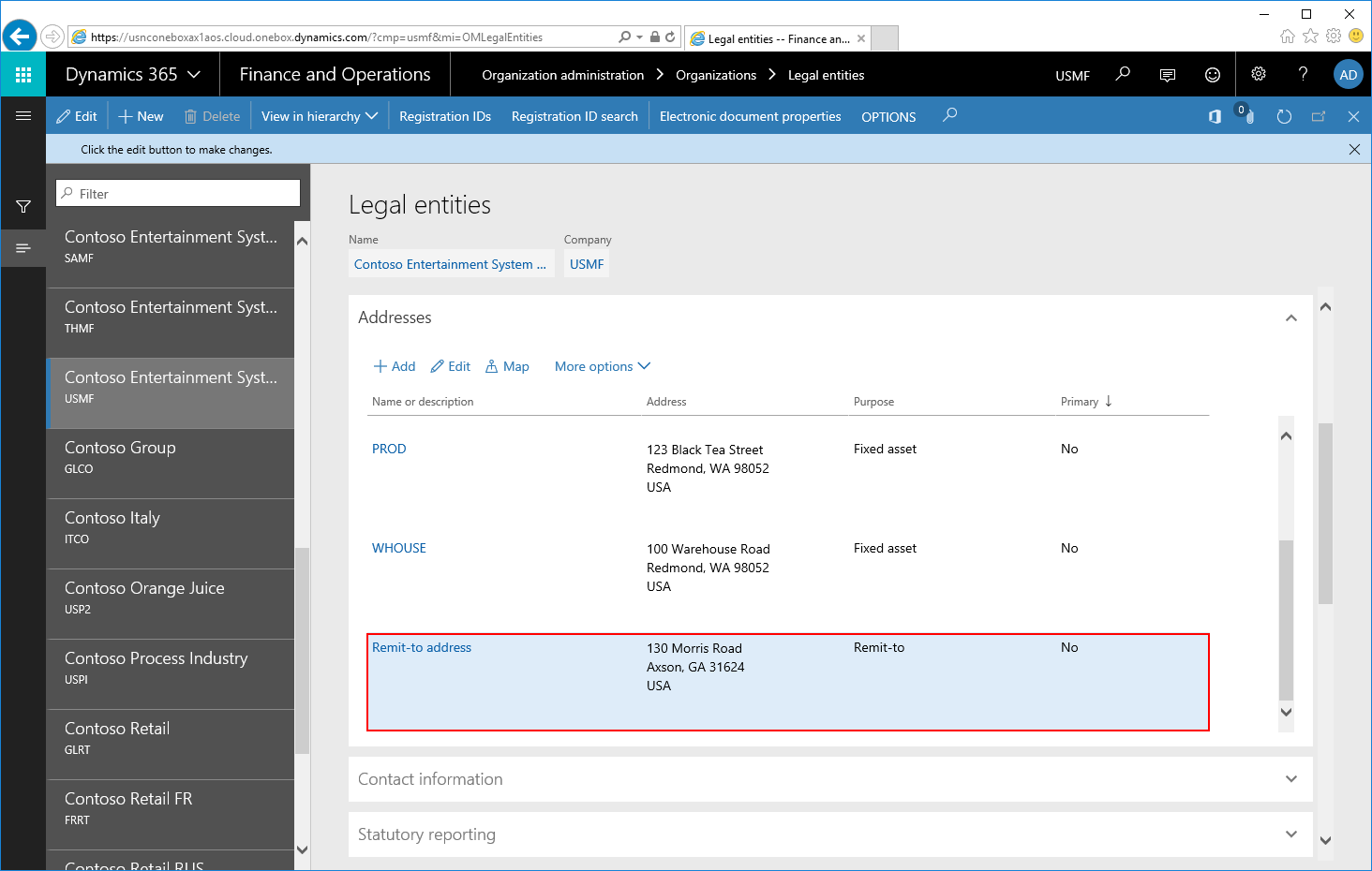 Adding Remit-to address to a report data source - Docentric AX
