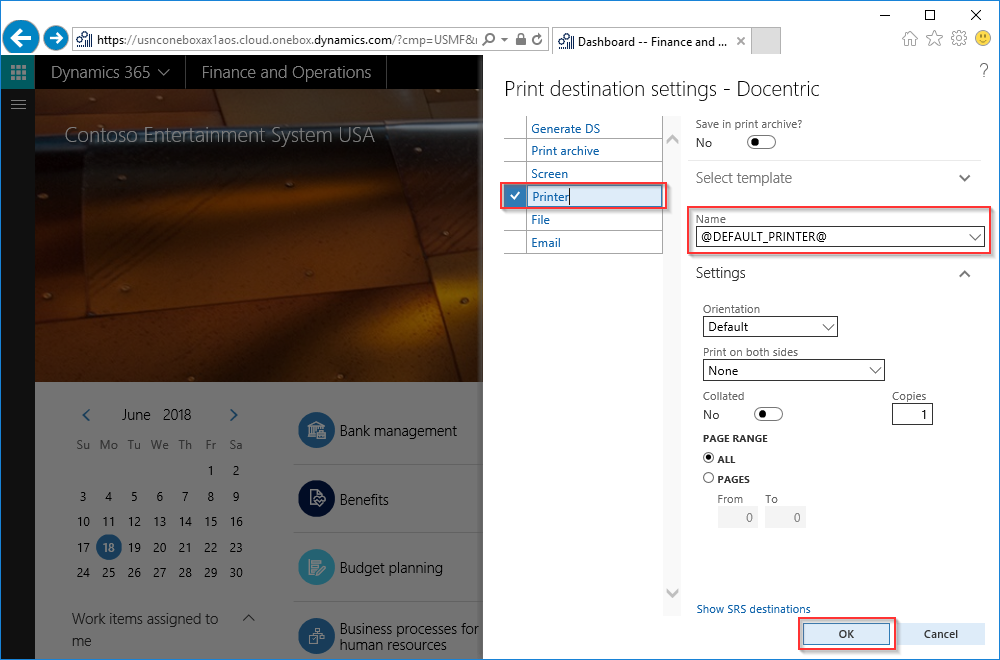 How to Set Up and Use Default Printer - Docentric AX