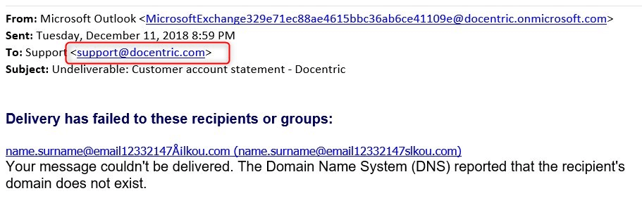 Report Email Sending Settings - Docentric AX